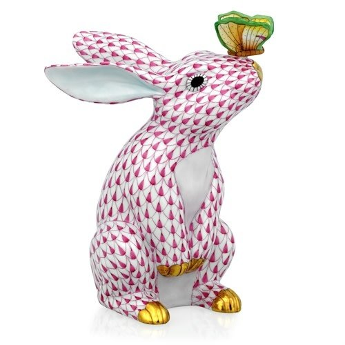 Herend Bunny with Butterfly on Nose Fishnet Pink