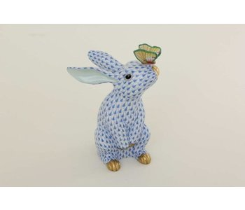 Bunny with Butterfly on Nose Fishnet Blue
