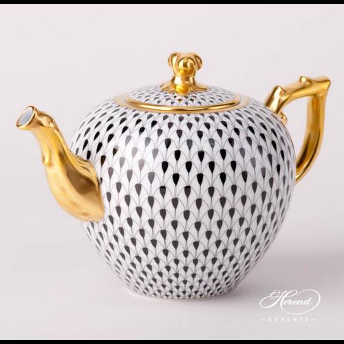 Herend Teapot Twisted Knob Fishnet Black