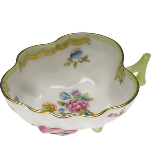 Herend Leaf Shaped Sugar Bowl with Butterfly Queen Victoria