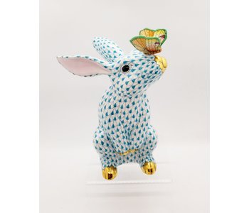 Bunny with Butterfly on Nose Turquoise Fully Painted Fishnet
