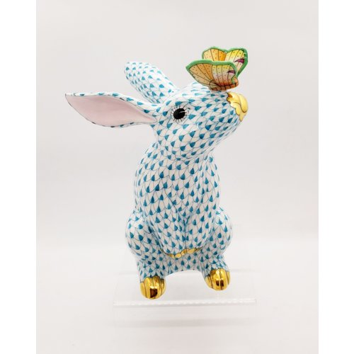 Herend Bunny with Butterfly on Nose Turquoise Fully Painted Fishnet
