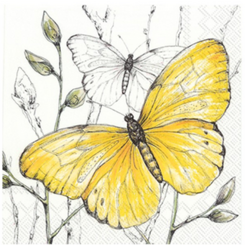 Carsim Napkin Cocktail Paper COLOURFUL BUTTERFLIES Yellow