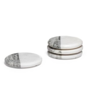Torre & Tagus Two Tone Marble Coasters Round/ Set of 4