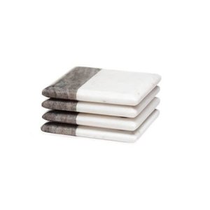 Torre & Tagus Two Tone Marble Coasters Square/ Set of 4
