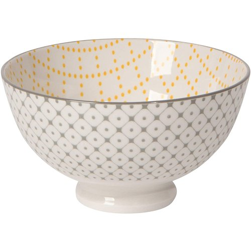 Now Designs Stamped Bowl Yellow Grey Lattice 10oz ( 4inch)