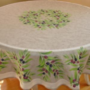 """L'Art de Vivre Inc. TABLECLOTH 68"""" ROUND Taupe and Olive Provencl . 100% Cotton"""
