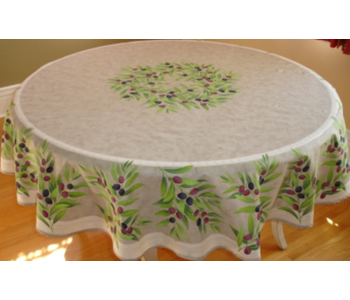 """TABLECLOTH 68"""" ROUND Taupe and Olive Provencl . 100% Cotton"""