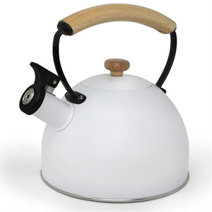 Café Culture Whistling Kettle White with Wood Handle