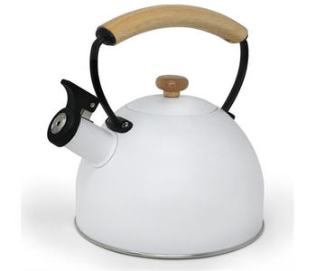 Whistling Kettle White with Wood Handle