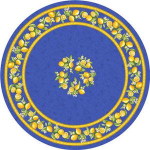 """L'Art de Vivre Inc. TABLECLOTH 68"""" ROUND Blue Lemon Blossom . COATED"""