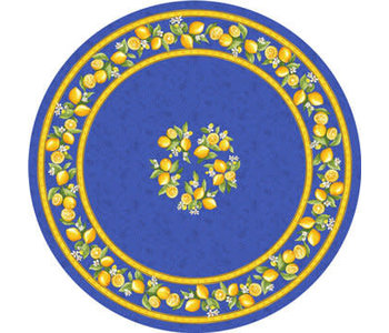 TABLECLOTH 68 ins. ROUND Blue Lemon Blossom . COATED