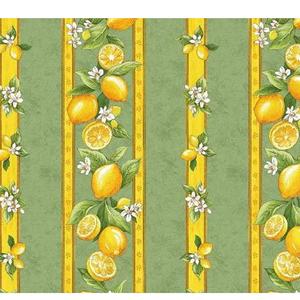 """L'Art de Vivre Inc. TABLECLOTH RECT. 51"""" X 72"""" Sage Green Lemon Blossom Made in France COATED"""