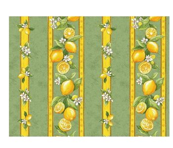 """TABLECLOTH RECT. 51"""" X 72"""" Sage Green Lemon Blossom Made in France COATED"""