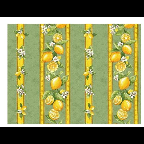 "L'Art de Vivre Inc. TABLECLOTH RECT. 60"" X 86"" Sage Green Lemon Blossom . COATED"