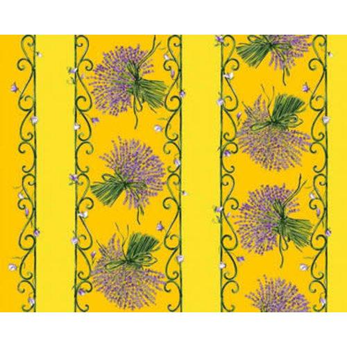 """L'Art de Vivre Inc. TABLECLOTH RECT. 60"""" X 102"""" Yellow Lavender . COATED"""