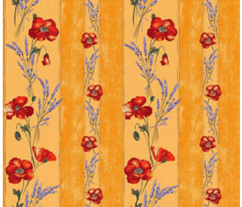 """TABLECLOTH RECT. 60""""x86"""" Yellow Poppies.100% Cotton"""