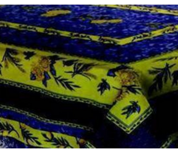 """Tablecloth Poly Rect 58""""X 78"""" Bee  - Blue"""