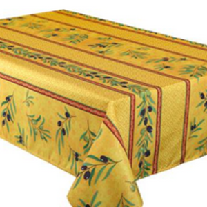 """Texstyles Deco Tablecloth Poly Rect 58"""" X 94"""" Olea - Yellow"""