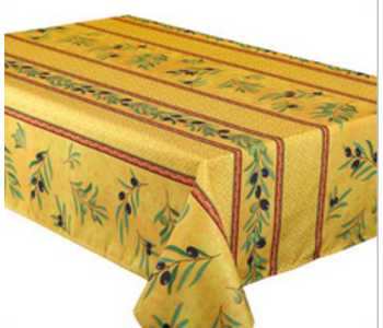 """Tablecloth Poly Rect 58"""" X 94"""" Olea - Yellow"""