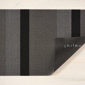 """Chilewich Big Mat Bold Stripe Shag SILVER/BLACK - 36"""" X 60"""""""