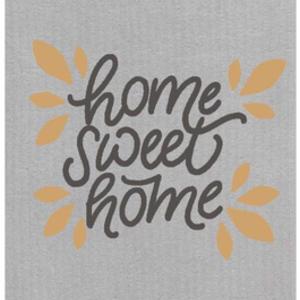 Swedish Cloth Swedish Cloth Home Sweet Home Gold Leaf Grey