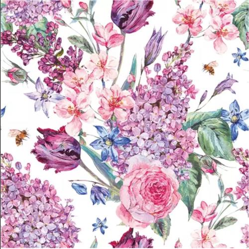Carsim Napkin Lunch Paper Flower Composition Lila