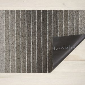 "Chilewich Big Mat Block Stripe Shag TAUPE - 36"" X 60"""