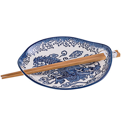 Nicetys Import JAPANESE Plate DRAGON with Chopsticks -BLUE