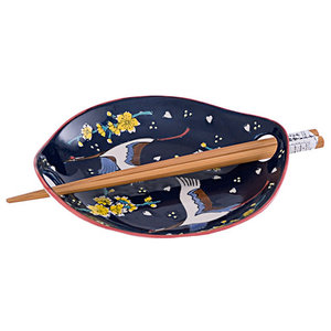 Nicetys Import JAPANESE Plate CRANE with Chopsticks-DARK BLUE