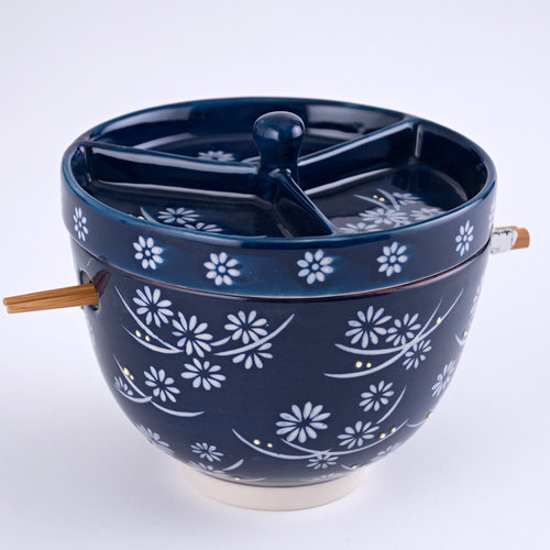 Nicetys Import JAPANESE BOWL with Condiment Divided Lid & Chopsticks 591ml -DARK BLUE