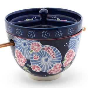 Nicetys Import JAPANESE BOWL with Condiment Divided Lid & Chopsticks 591ml -BLUE