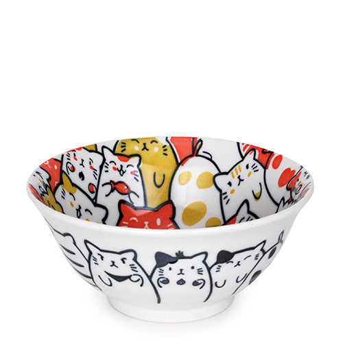 Nicetys Import JAPANESE Bunch of Cats Bowl 532ml - RED