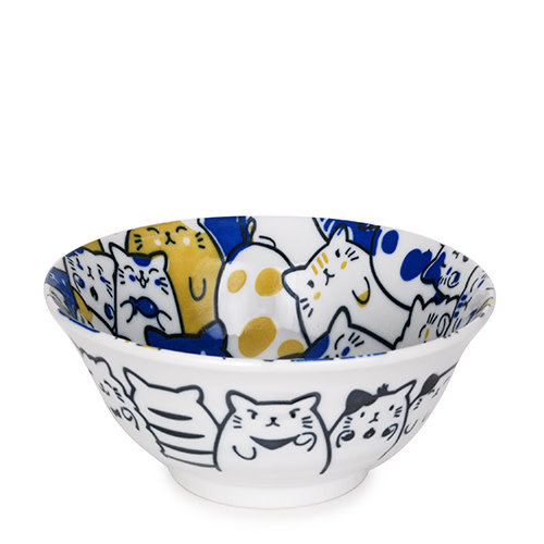 Nicetys Import JAPANESE Bunch of Cats Bowl 532ml- BLUE