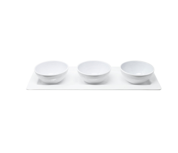 Bianco Tutti Rectangular Tray with 3 Bowls