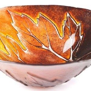"Maleras Maple Leaves Bowl red 6.5"" diameter EXCLUSIVE"