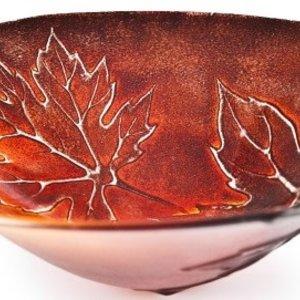"Maleras Maple Leaves Bowl red 9"" diameter EXCLUSIVE"