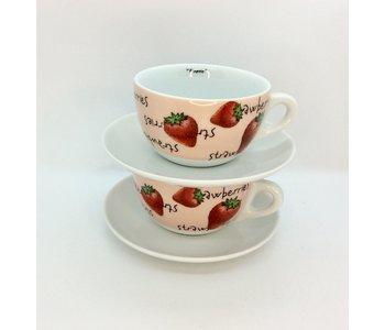 FRAGOLE Latte Cup Verona w/saucer (Strawberry)
