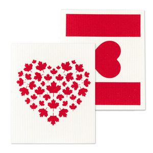 Abbott Swedish Cloth Canada Flag & Heart/ Set of 2