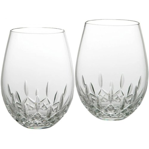 Waterford LISMORE NOUVEAU Stemless Wine Deep Red 12 oz Set of 2