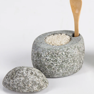 FUNKY ROCK DESIGNS BEACH STONE SALT CELLAR with Bamboo Spoon