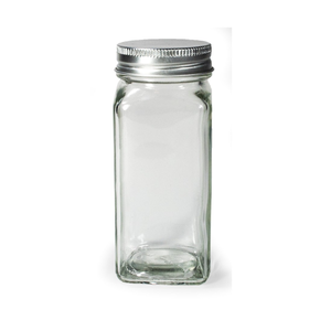 Port-Style Spice Jar Square Glass with Metal Lid 4oz.