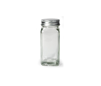 Spice Jar Square Glass with Metal Lid 4oz.