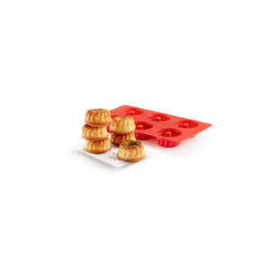 Lekue Lékué Savarin Mini Bundt 6 Cavity Baking Mould Red
