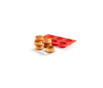 Lékué Savarin Mini Bundt 6 Cavity Baking Mould Red