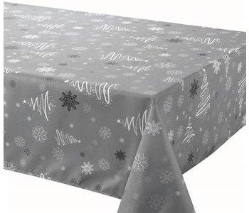 """Tablecloth XMAS Poly 58""""X126"""" Fancy XMAS Trees Grey"""