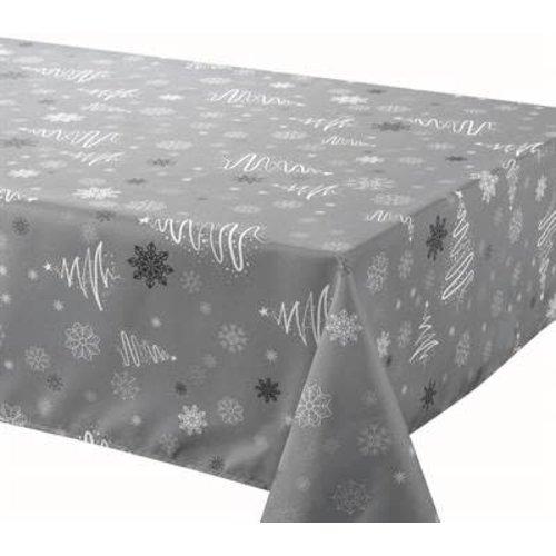 "Texstyles Deco Tablecloth XMAS Poly 58""X126"" Fancy XMAS Trees Grey"