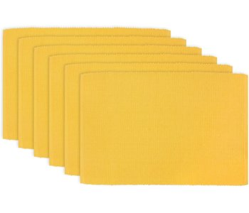 """PLACEMAT SOLID RIB POLY/COTTON YELLOW- 13"""" X 19"""""""