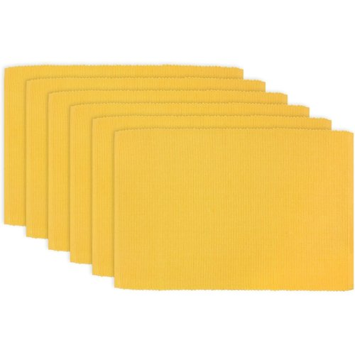 """Texstyles Deco PLACEMAT SOLID RIB POLY/COTTON YELLOW- 13"""" X 19"""""""