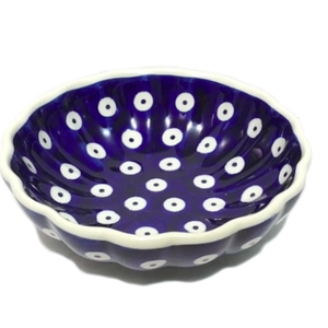 Polish Pottery Bowl 12 cm Shell Style POLKA DOT Polish Pottery